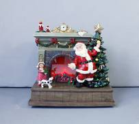 SANTAS FIREPLACE WITH LIGHT & FLAME EFFECT