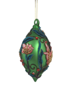GREEN GLASS FINIAL WITH FLORAL DECORATION