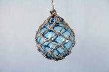BLUE GLASS BALL IN JUTE HANGER