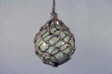 GREEN GLASS BALL IN JUTE HANGER
