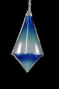 BLUE GLASS DIAMOND DROP HANGER