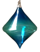 BLUE GLASS DIAMOND HANGER