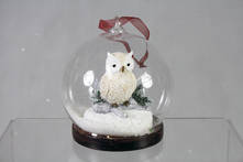 HANGING OWL IN GLASS BALL