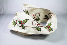 HOLLY EMBROIDERED WIRED RIBBON