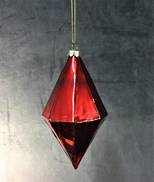 RED GLASS 14CMH DIAMOND HANGER