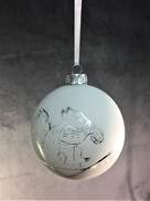 WHITE MATT GLASS BALL WITH SILVER DETAILED DESIGN HANGER