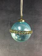 BLUE OPALESCENT GLASS BALL WITH DIAMANTE BAND