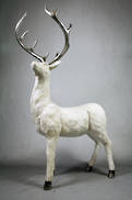 CREAM SNOWY STANDING STAG FACING LEFT