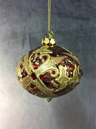 ANTIQUED RED/GOLD GLASS ONION WITH JEWELS