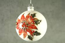 8CMD WHITE GLASS BALL WITH POINSETTIA