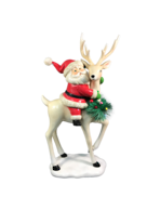 40CMH RESIN SANTA ON DEER