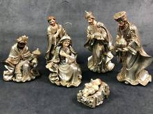 6 PIECE METALLIC NATIVITY SET