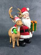 COMICAL SANTA AND DEER RESIN