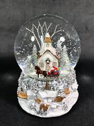 10CMD PAINTED CHURCH SNOWGLOBE - MUSIC