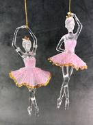 SET 2 PLASTIC BALLERINA ORNAMENT