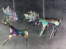 SET2 CLEAR IRIDESCENT PLASTIC HANGING DEER