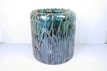 DRIZZLED BLACK, AQUA GLASS POT