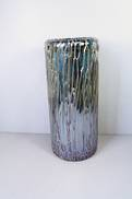 28CMH DRIZZLED BLACK AQUA GLASS VASE