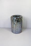 17CMH DRIZZLED BLACK AQUA GLASS VASE