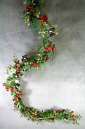 150CML PLASTIC LEAF BERRY AND GOLD GLITTER GARLAND