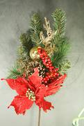 70CML TRADITIONAL RED/GOLD BALL/POINSETTIA PICK