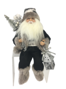 30CM SITTING SANTA IN BLACK GREY