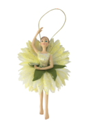 18CM GARDEN FAIRY IN WHITE GREEN MANY PETALS
