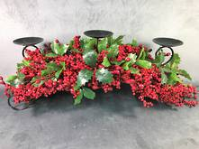 76CML BERRY AND GREEN HOLLY CENTREPIECE