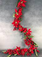 180CML RED POINSETTIA, MAGNOLIA BERRY GARLAND GARLAND