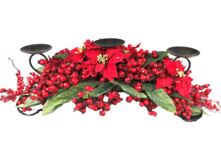 76CML RED POINSETTIA, MAGNOLIA BERRY CANDLEHOLDER