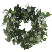 SUCCULENT/HOLLY/EUCALYPTUS WREATH
