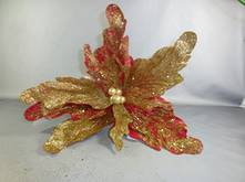 RED POINSETTIA W/ GOLD GLITTER
