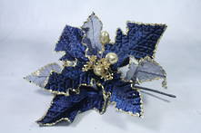 30CMD RICH BLUE AND MESH GOLD GLITTER FLOWER