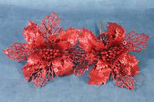 SET2 BURGUNDY PLASTIC POINSETTIAS ON CLIP