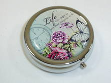 ROUND SILVER BUTTERFLY PILL BOX