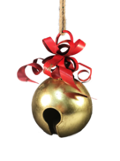 31CMH GOLD METAL BELL WITH RED METAL RIBBON