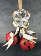 25CMH RED METAL BELLS WITH WHITE METAL RIBBON