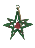 AGED GREEN METAL HANGING STAR