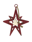 AGED RED METAL HANGING STAR