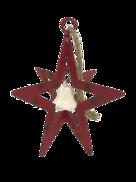 AGED RED METAL HANGING STAR