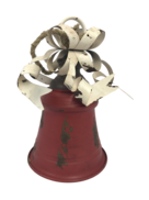 AGED RED METAL BELL WITH WHITE BOW