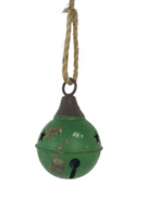 AGED GREEN METAL BALL BELL HANGING