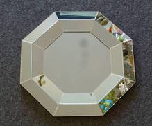 SILVER OCTAGONAL MIRROR WITH DOUBLE RIMS