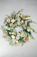 FROSTED EUCALYPTUS WITH RATTAN BALLS VINE WREATH