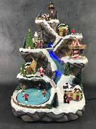 LED, MUSIC 49CMH SANTA VILLAGE WITH ICE FLOW