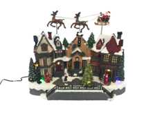 LED, 8 SONG MOVING SLEIGH VILLAGE