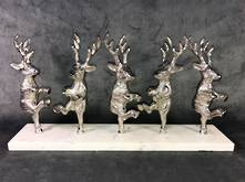 DANCING DEER ON MARBLE BASE-NICKEL