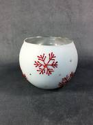 LARGE WHITE TEALIGHT WITH RED SNOWFLAKES (4)