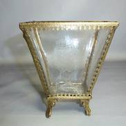 ETCHED GLASS VASE W/GOLD TRIM