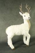 40CMH WHITE STANDING DEER GOLD ANTLERS